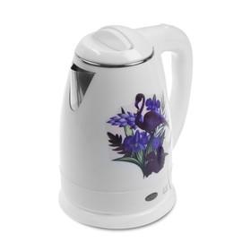 Чайник электрический Irit IR-1301, 1500 Вт, 1.8 л, металл, белый с рисунком