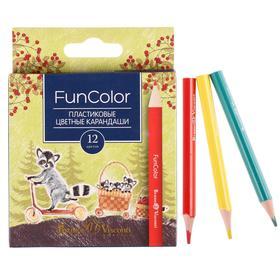 Карандаши 12 цветов Укороченные Funcolor пластиковые