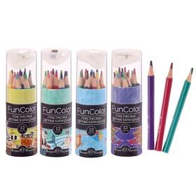 Карандаши 12 цветов Укороченные Funcolor пластиковые, в картонной тубе, микс