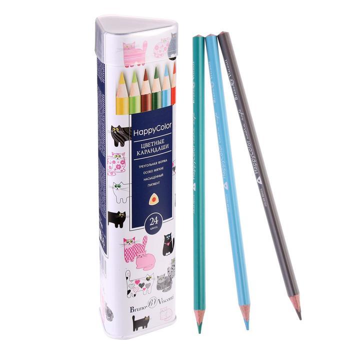 Карандаши 24 цвета Happycolor в металлической тубе, микс из 3 видов
