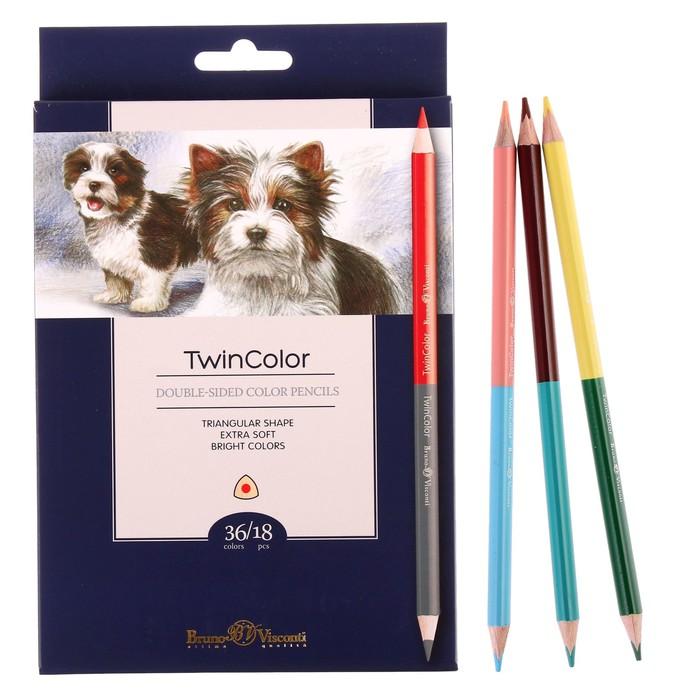 Карандаши 36 цветов 18 штук, Twincolor