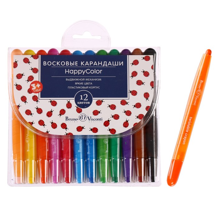 Мелки восковые 12 цветов Happycolor пластиковые корпус выкручивающийся микс из 4 видов