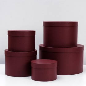 """Set of round boxes 5 in 1 """"Maroon mesh"""", 30 x 30 x 17 15 x 15 x 10 cm"""