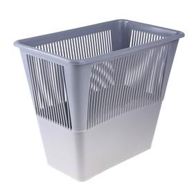 Корзина для бумаг 12 литров, прямоугольная, серая, высота 300 мм