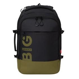Рюкзак молодёжный с эргономичной спинкой Grizzly, 45 х 32 х 21, для мальчиков, чёрный/хаки