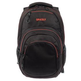 Рюкзак молодёжный с эргономичной спинкой Grizzly, 48 х 33 х 21, чёрный//красный