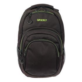 Рюкзак молодёжный с эргономичной спинкой Grizzly, 48 х 33 х 21, чёрный//салатовый