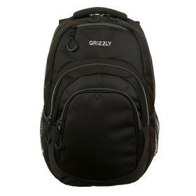 Рюкзак молодёжный с эргономичной спинкой Grizzly, 48 х 33 х 21, чёрный//серый