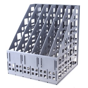 The paper tray is prefabricated, vertical, 6 compartments, gray.