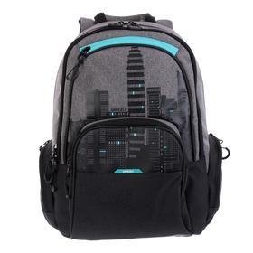 Рюкзак молодёжный с эргономичной спинкой Grizzly, 42 х 30 х 22, чёрный/бирюзовый