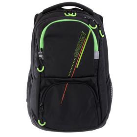 Рюкзак молодёжный с эргономичной спинкой Grizzly, 43 х 31 х 20, чёрный/салатовый