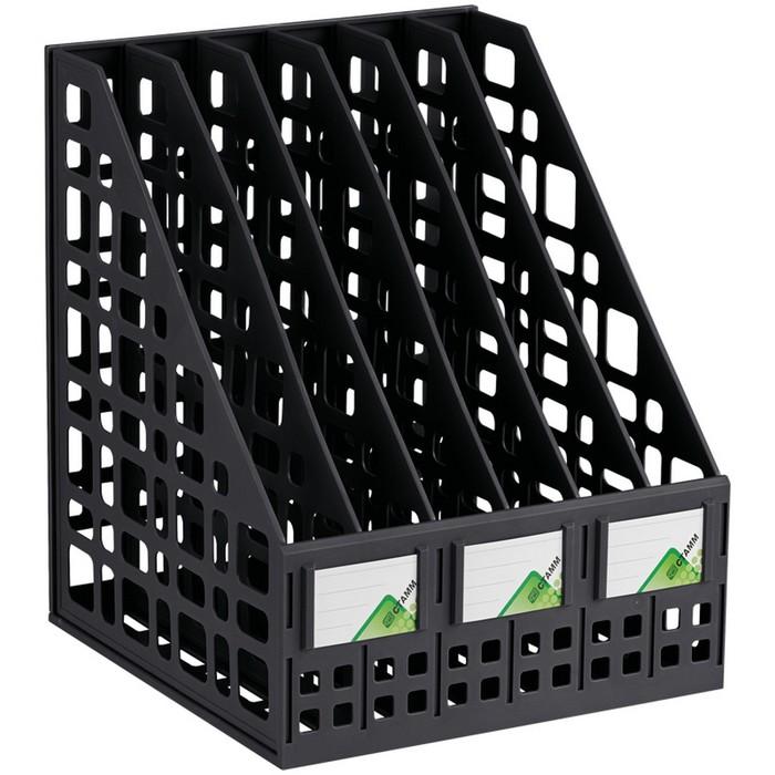 Лоток для бумаг cборный, вертикальный, 6 отделений, чёрный