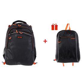 Рюкзак школьный с эргономичной спинкой Grizzly, 39 х 28 х 17 + мешок для обуви, чёрный/оранжевый