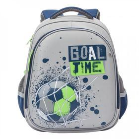 Рюкзак каркасный Grizzly 36 х 28 х 20, для мальчиков, серый/т-синий