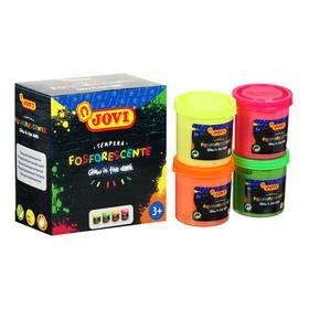 Гуашь 4 цвета х 55 мл, JOVI, светящаяся в темноте, в картонной коробке