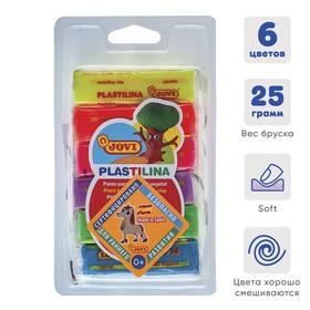 Пластилин 6 цветов х 25 г, JOVI, флуоресцентный, в блистере, для малышей