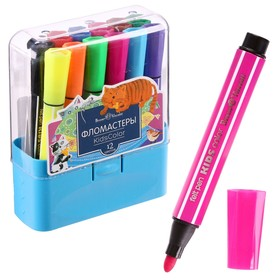 Фломастеры 12 цветов Kidscolor в пластиковом пенале