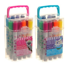 Фломастеры-штампики 12 цветов, Funcolor, в пластиковом пенале, МИКС