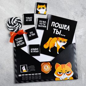 Подарочный набор в конверте «Сладкое послание»: леденец, молочный шоколад 5 г × 5 шт., открытка