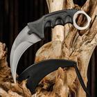 Knife karambit awkward black handle, the blade is 9.5 cm