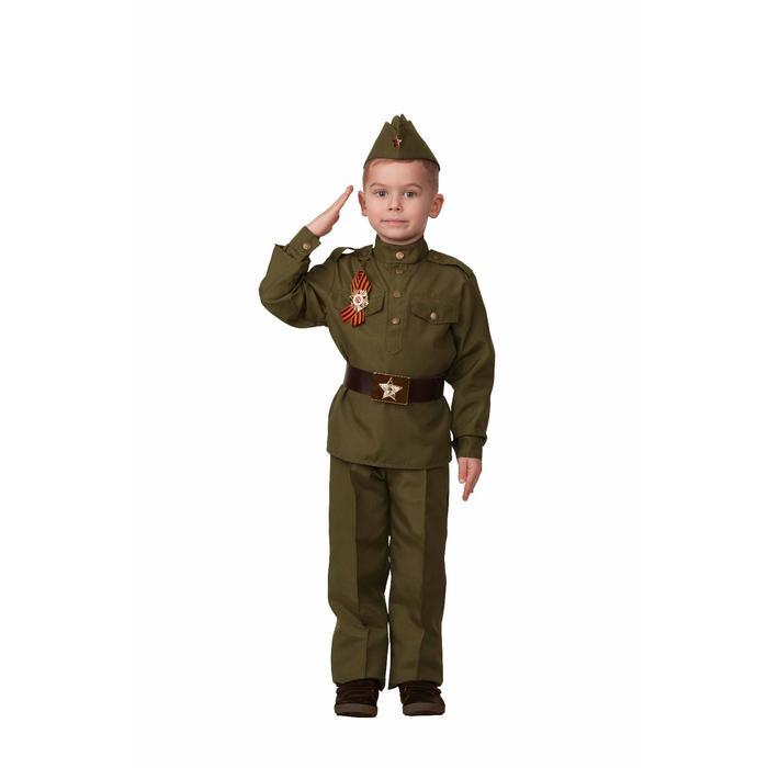 Карнавальный костюм «Солдат», гимнастёрка, брюки, пилотка, ремень, брошь, р. 32, рост 128 см - фото 105522329