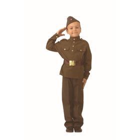 Карнавальный костюм «Солдат», сорочка, брюки, ремень, головной убор, брошь, р. 28, рост 110 см