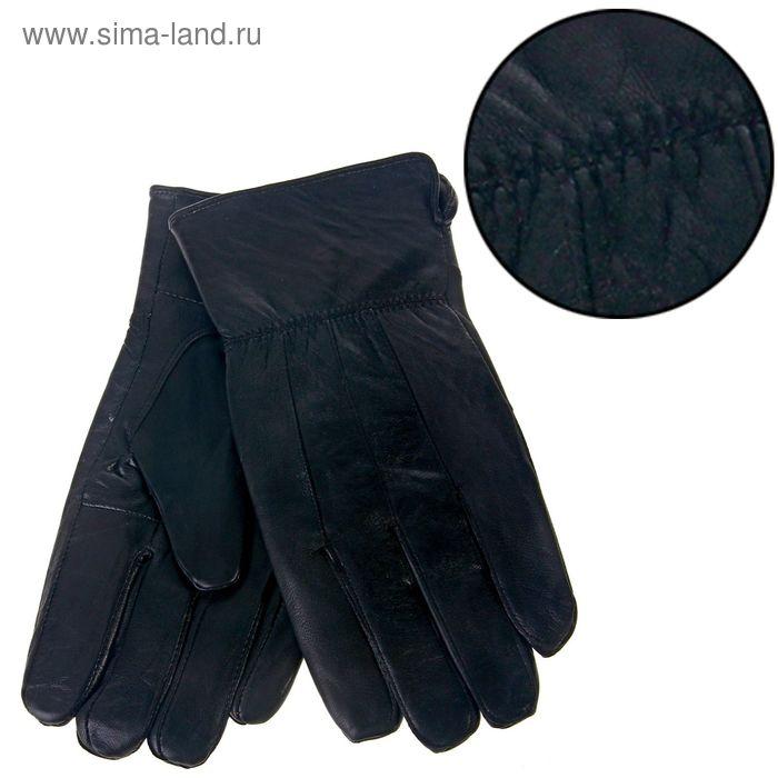 """Перчатки мужские """"Дин"""" манжет с разрезом, подклад флис, длина-25см, р-р 10,5, чёрные"""