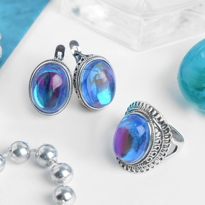 Set 2 PR silver plated: earring, ring, openwork Opal, color blue, 17 R-R
