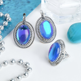 Set 2 PR silver plated: earring, ring, oval, large Opal, blue color, 17.5 R-R