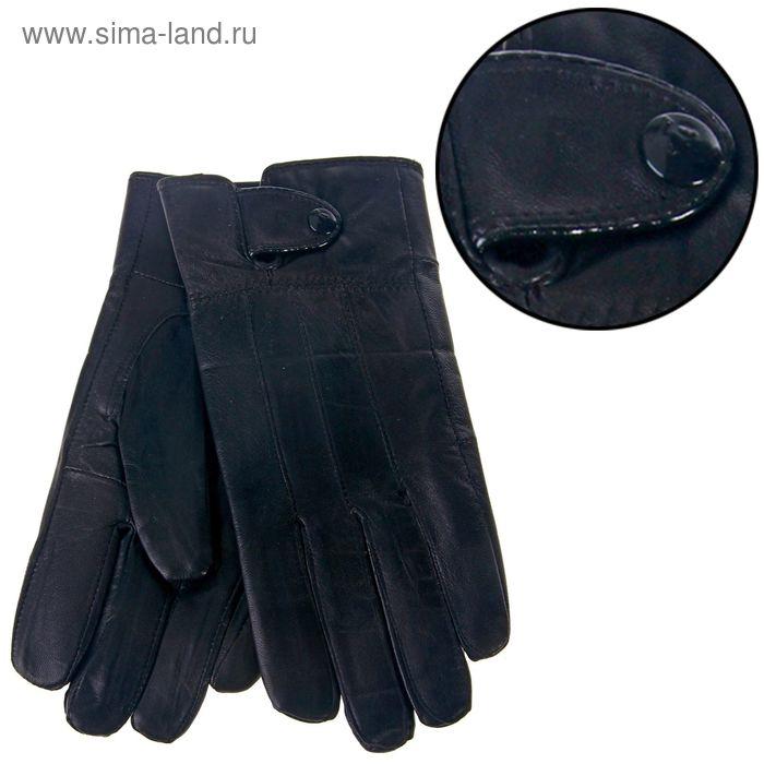 """Перчатки мужские """"Томас"""" манжет на кнопке, подклад флис, длина-25см, р-р 10, чёрные"""