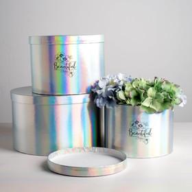 Набор шляпных коробок для цветов 3 в 1 с голографией «Ты прекрасна», 18 × 13 см - 25 × 15 см