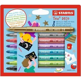 Фломастеры 8 цветов STABILO TRIO DECO, МЕТАЛЛИК, в картонной коробке