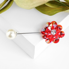 """Pin """"Flower arrangement"""", color is red-white in silver"""