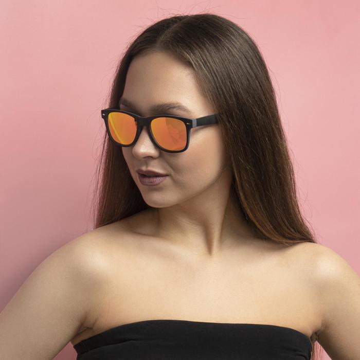 """Очки солнцезащитные """"Бель-Мар"""", пружинные дужки, uv400, 14х15х5 см, линза 5х5.5 см, оранжевы"""