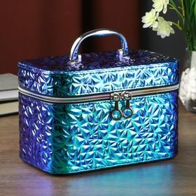 "Leatherette jewelry box with mirror ""Broken glass, blue"" 14х13х21 cm"