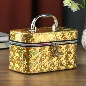 "Leatherette jewelry box with mirror ""Mica holography, gold"" 10,5x10,5x19 cm"