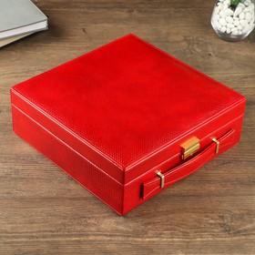 "Box leatherette jewelry case ""Red Python"" combined 9х26х26 cm"