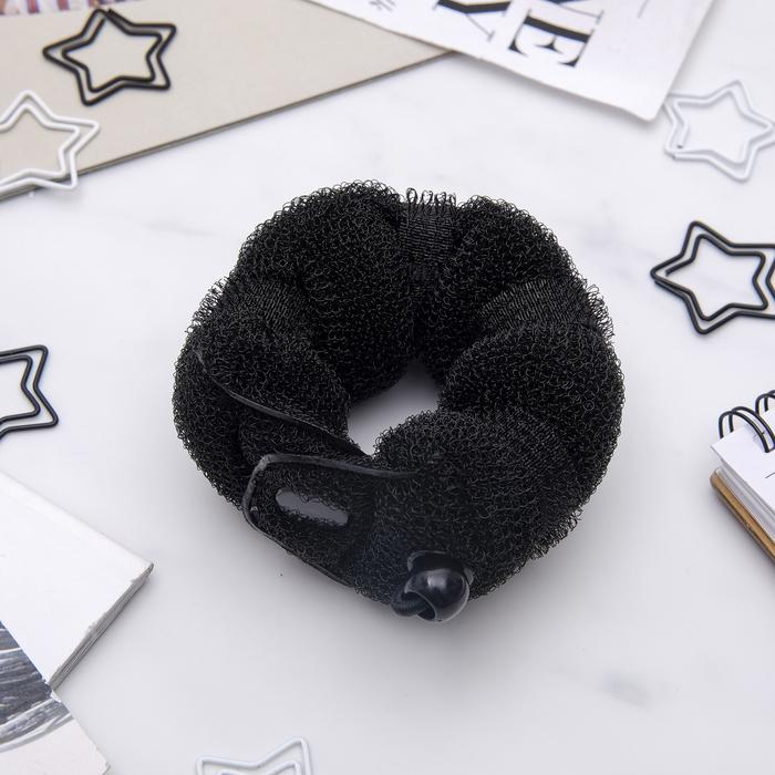 Валик для волос с кнопкой и резинкой, чёрный