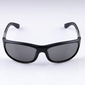 """Очки спортивные """"Мастер К."""", солнцезащитные, дужки с металл. вставкой, оправа и линзы чёрные"""