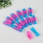 Бигуди пластиковые с крабом, d=2,5см, 7см, 12шт, цвет розовый/голубой