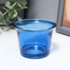 "Glass candle holder 1 candle ""gloss"" blue 4,7x6,2x6,2 cm"