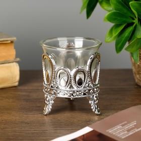 "Подсвечник пластик, стекло на 1 свечу ""Капельки"" серебро 7х6х6 см"