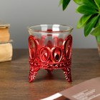 """Candle holder plastic, glass, 1 candle """"drops"""" of red 7х6х6 cm"""