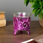 "Candle holder plastic, glass, 1 candle ""Drops"" pink 7х6х6 cm"