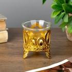 "Candle holder plastic, glass, 1 candle ""drops"" of gold 7х6х6 cm"