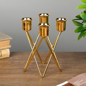 "Metal candle holder for 4 candles ""Triangles"" gold 14х9х9 cm"