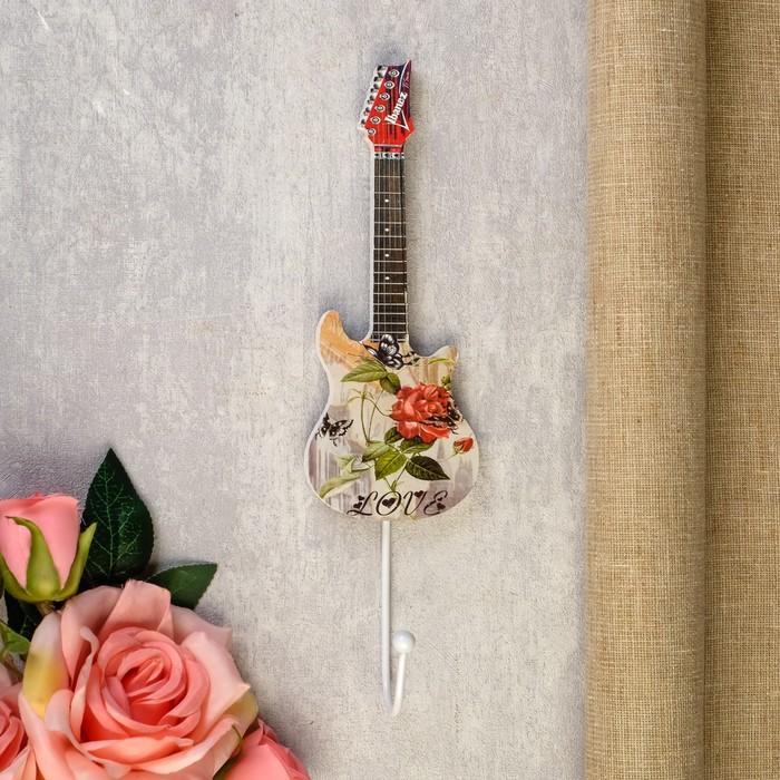"""Крючок декоративный дерево """"Цветочная гитара"""" 28х6,5х5 см - фото 490010"""