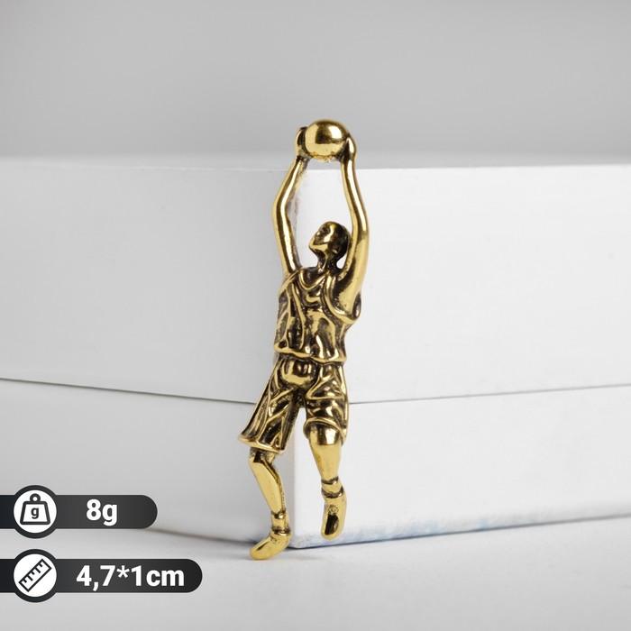 """Брошь """"Баскетболист"""", цвет чернёного золота"""