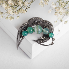 Brooch Agat arc, the color of green in a gray metal