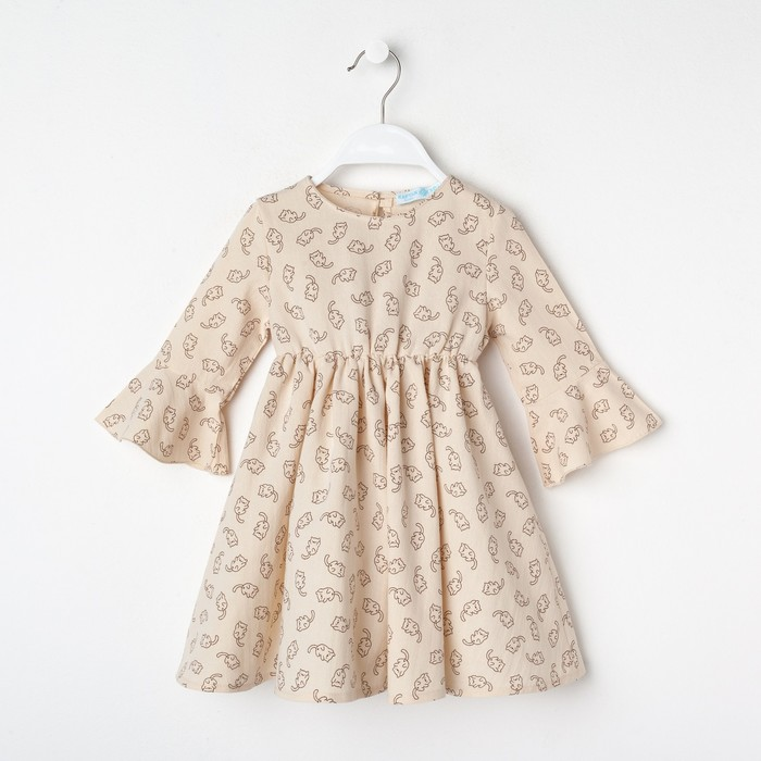 "Платье для девочки KAFTAN ""Котики"" р.30 (98-104), бежевый - фото 105697106"